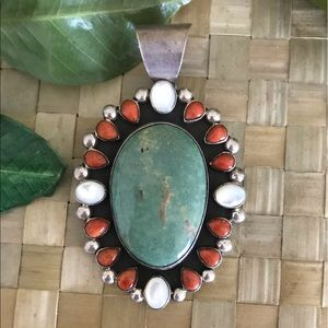 Native American Chimney Butte MOP Coral Pendant